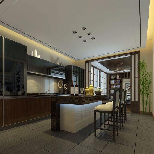 厨房吧台中式风格装修设计图片