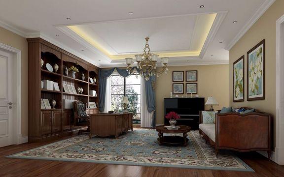 书房博古架美式风格装饰效果图