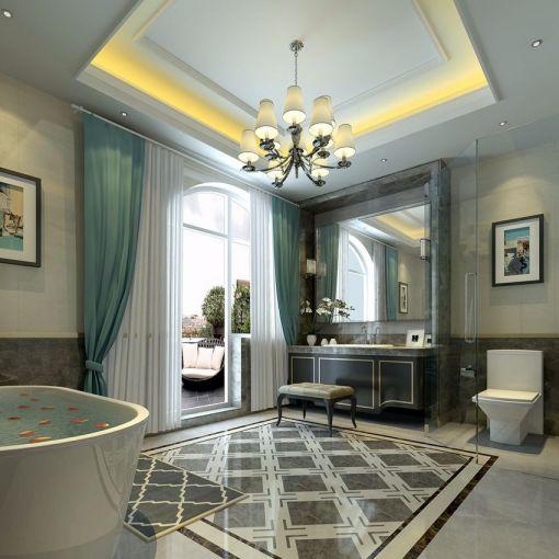 卫生间窗帘美式风格装饰效果图
