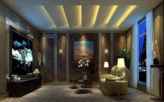 地下室背景墙美式风格装潢效果图