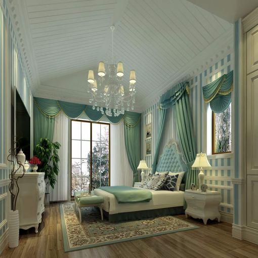 卧室蓝色床欧式风格装饰图片
