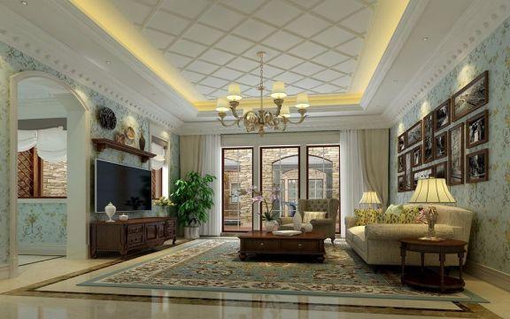 客厅窗帘欧式风格装潢图片