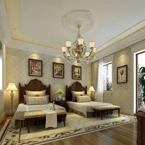 卧室灰色床欧式风格装饰设计图片