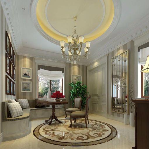地下室咖啡色地板砖欧式风格装潢设计图片