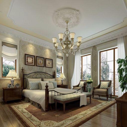卧室白色床欧式风格效果图