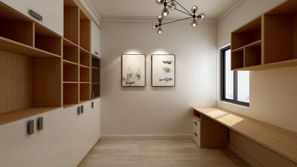 书房背景墙简约风格装修设计图片