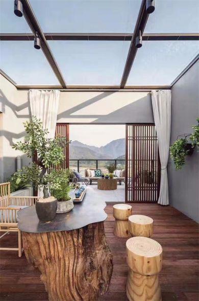 阳台地板砖新中式风格效果图