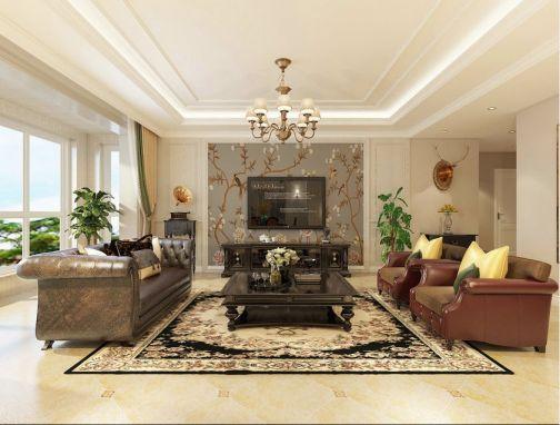 美式风格139平米三房两厅新房装修效果图