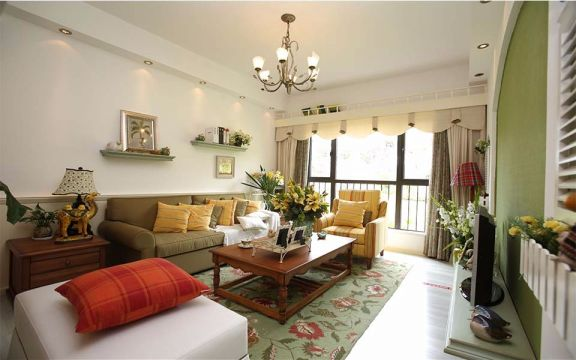 地中海风格90平米两房两厅新房装修效果图
