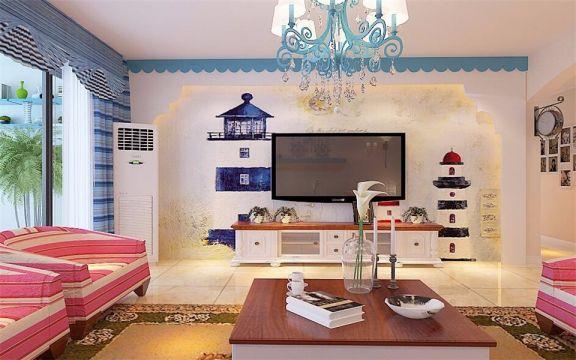 莱蒙湖145平米三室两厅地中海风格装修效果图