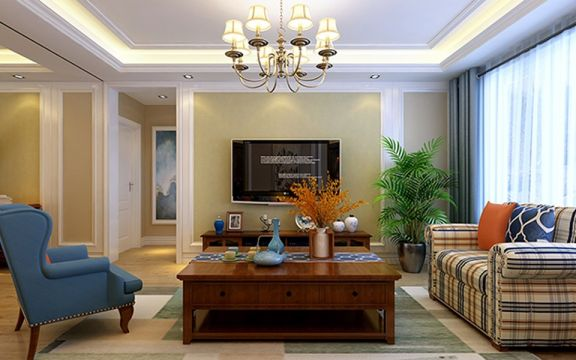 富力华庭120平米二居室美式风格装修效果图