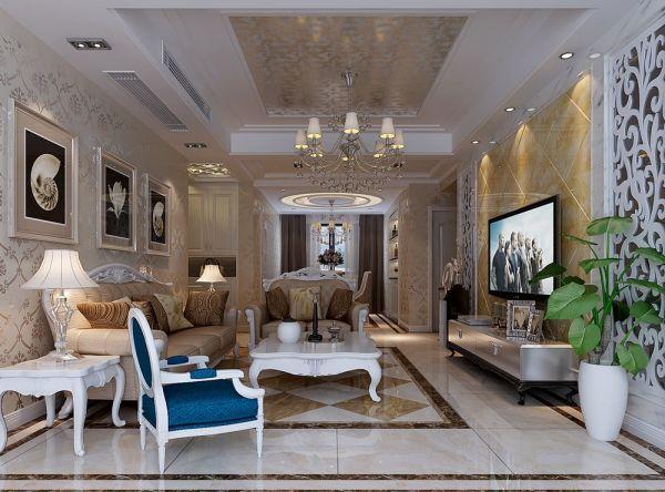 现代欧式风格90平米两室两厅新房装修效果图