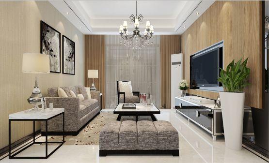 简中式风格120平米三室两厅室内装修效果图