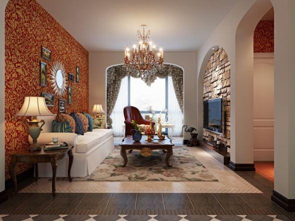 明珠家园158平三室两厅田园风格装修效果图