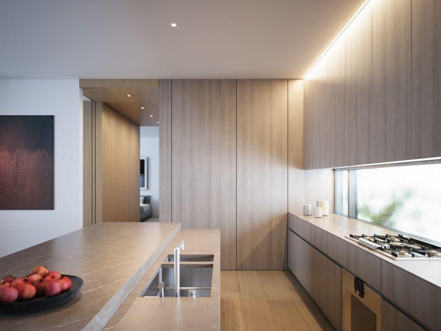 厨房咖啡色橱柜欧式风格装潢效果图