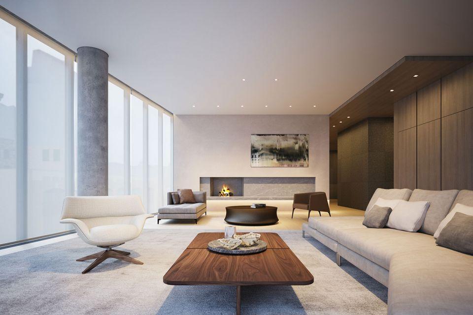 客厅灰色沙发欧式风格装修图片