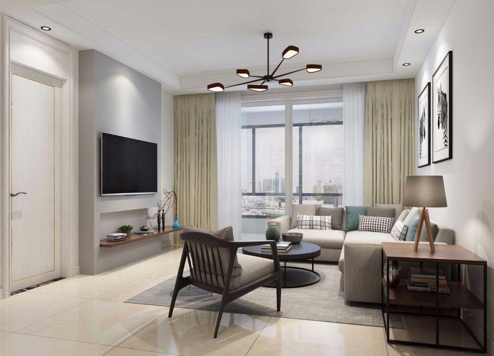 客厅黄色窗帘现代简约风格装饰图片