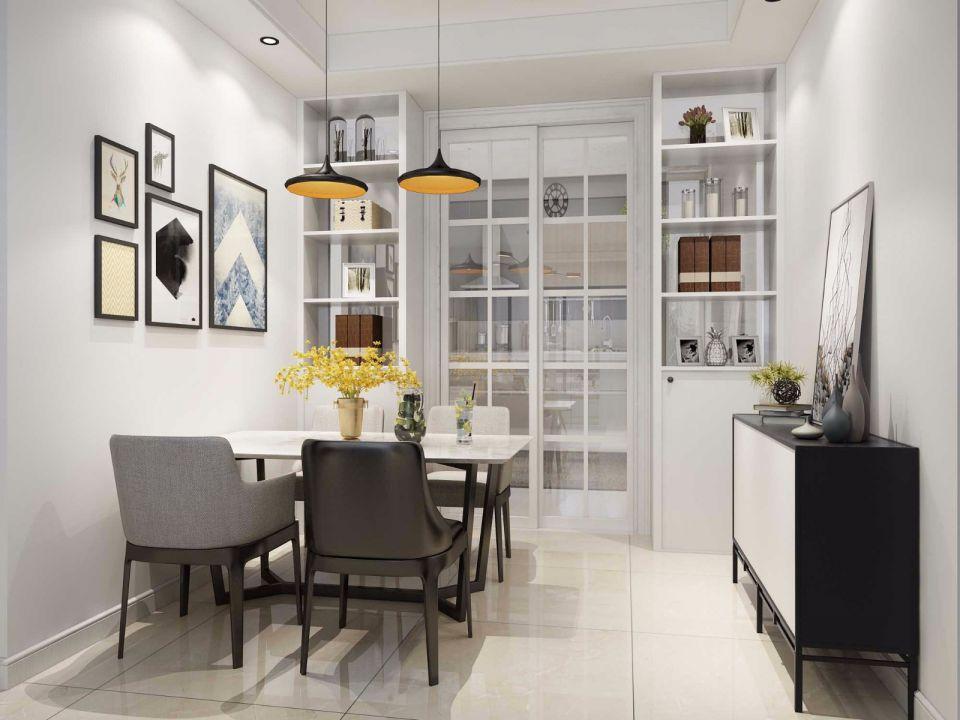 餐厅白色照片墙现代简约风格装潢图片