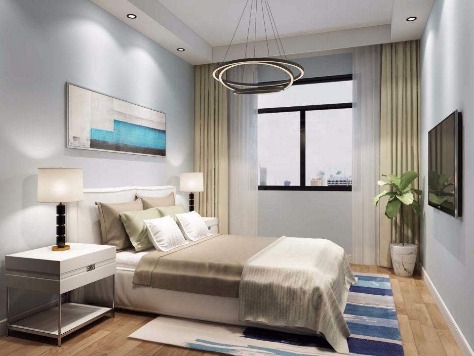 卧室白色床头柜现代简约风格装潢设计图片