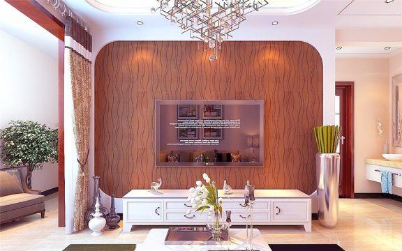 客厅白色电视柜简约风格装修图片