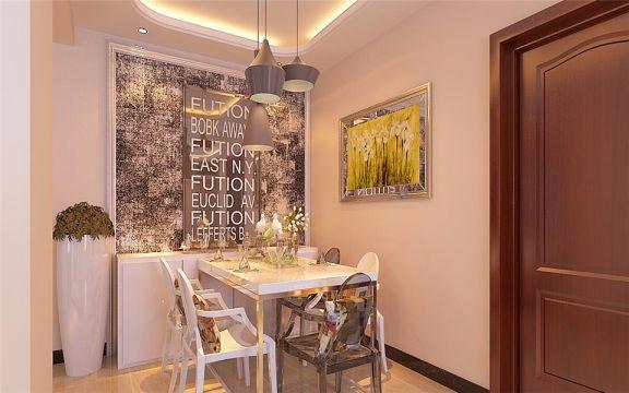 餐厅白色餐桌简约风格装饰图片
