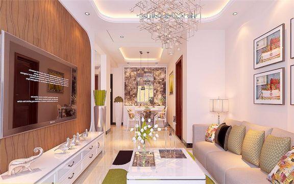 融汇爱都95平米两室两厅简约风格装修效果图
