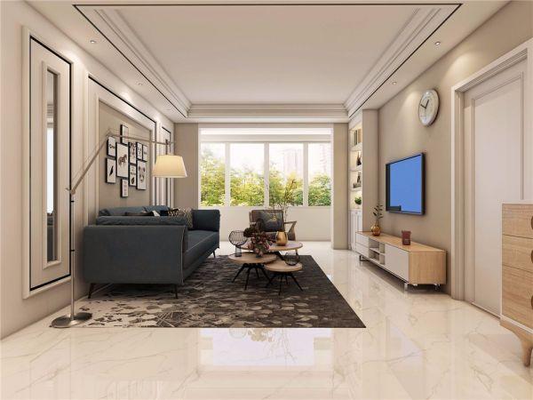 北欧风格105平米三室两厅新房装修效果图