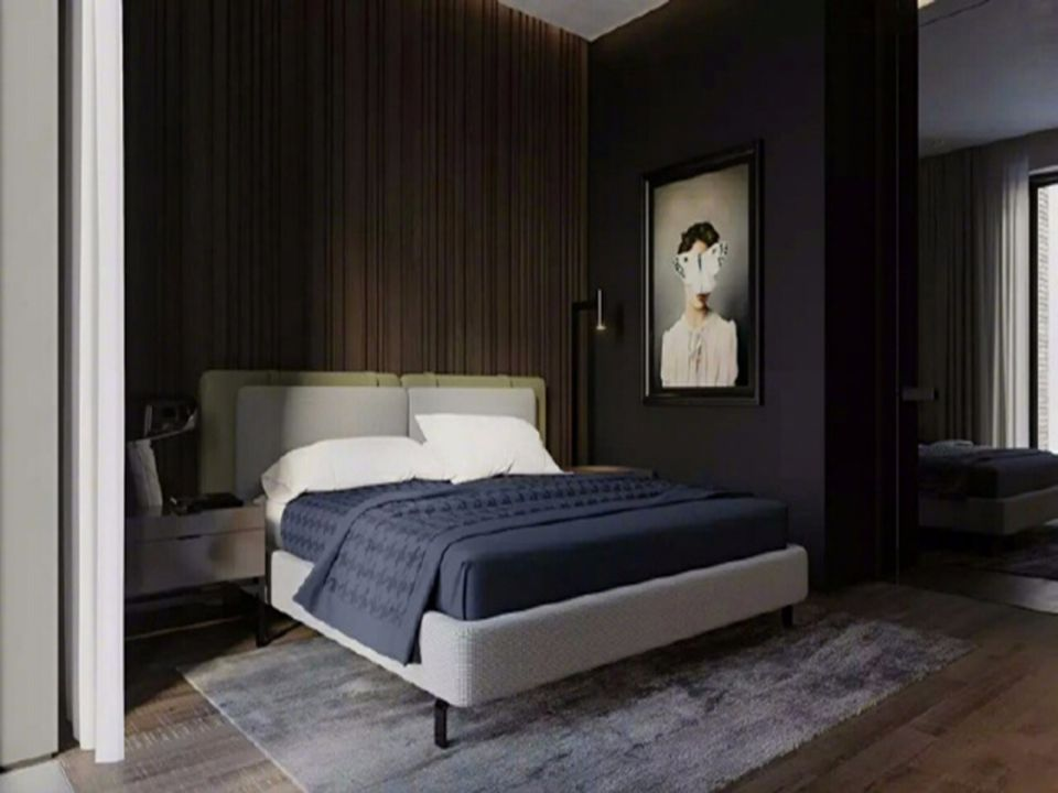 56平极致暗黑简欧风格一居室装修效果图