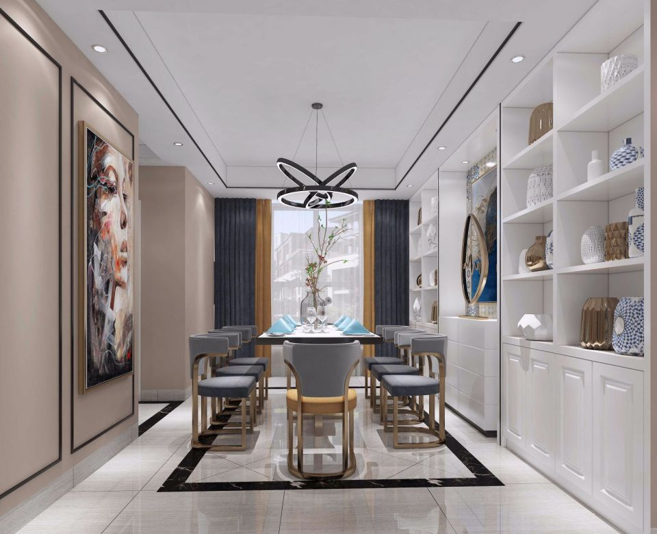 现代风格120平米三室两厅新房装修效果图
