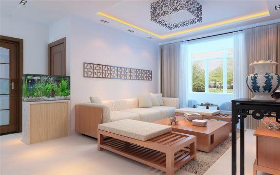 融汇爱都112平三室两厅新中式风格装修效果图