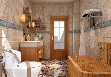 卫生间橙色洗漱台中式古典风格装修图片
