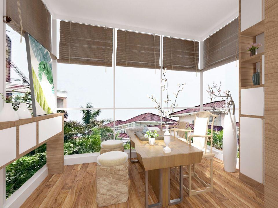 阳台咖啡色窗帘装潢实景图