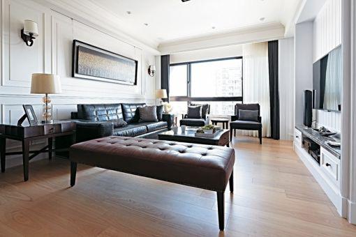 客厅黑色沙发简约风格装饰效果图