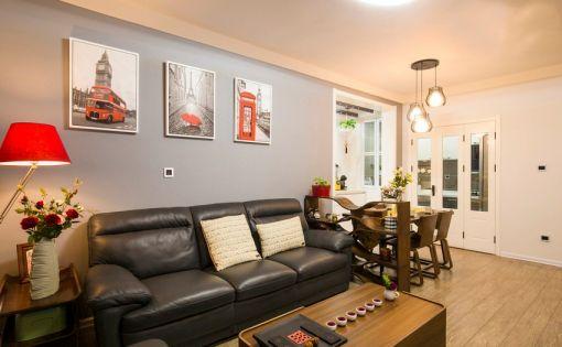 客厅咖啡色背景墙混搭风格装饰图片