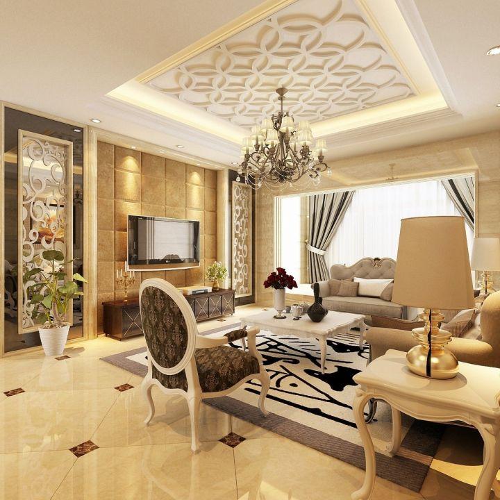 客厅黄色背景墙简欧风格装饰图片