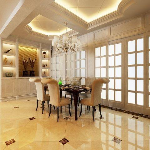 餐厅白色推拉门简欧风格装潢图片