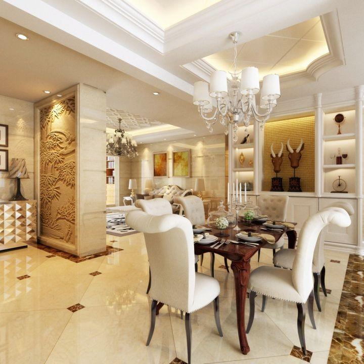 餐厅白色吊顶简欧风格装修设计图片