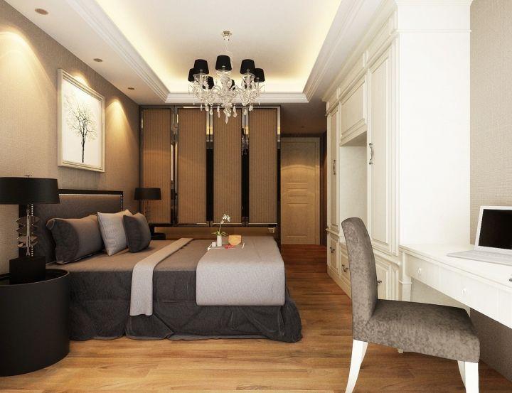 卧室咖啡色衣柜简欧风格装饰设计图片