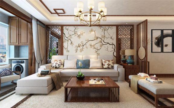 中式风格127平米三室两厅新房装修效果图