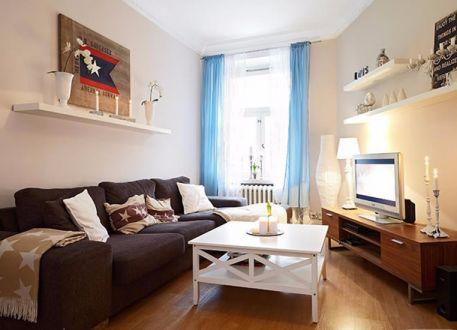 旭城公园府邸清新风格61平一居室装修效果图