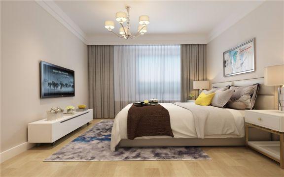 卧室床简约风格装潢效果图
