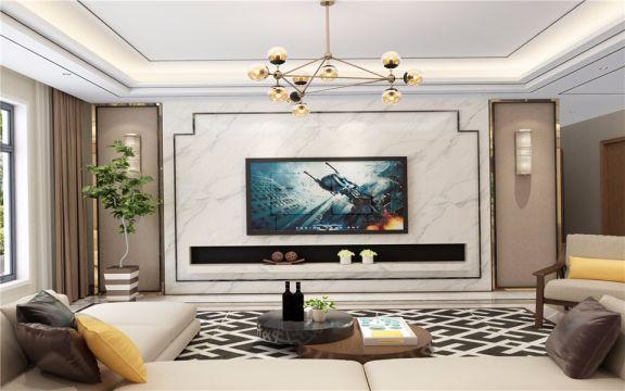 客厅电视柜简约风格装潢设计图片