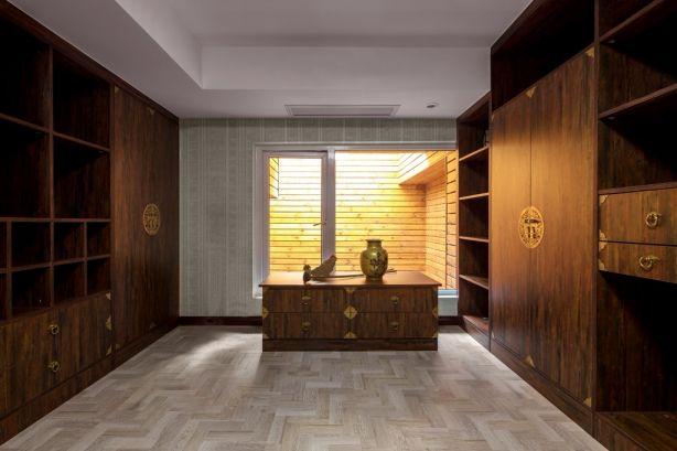 书房背景墙中式风格装潢设计图片