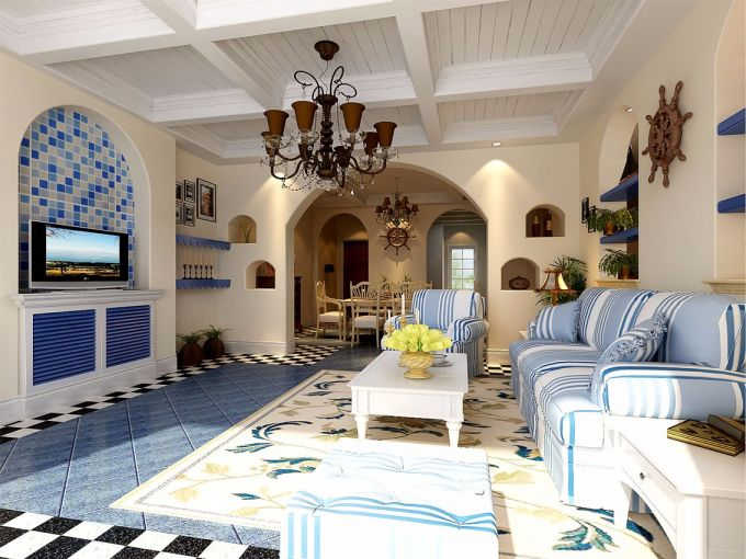 100平方地中海风格二居室装修效果图
