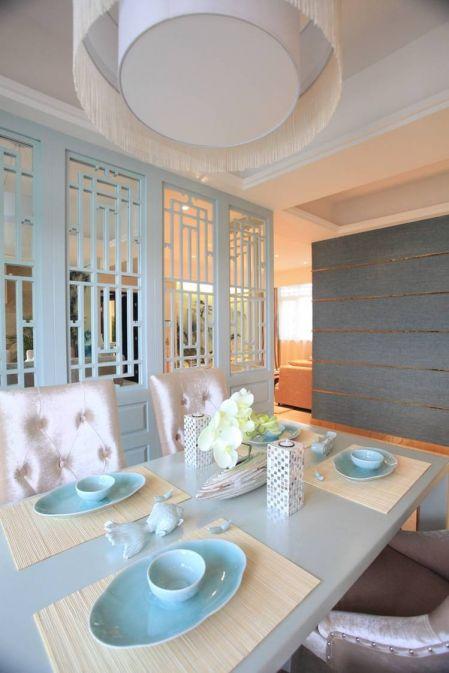 餐厅白色餐桌中式风格装潢效果图