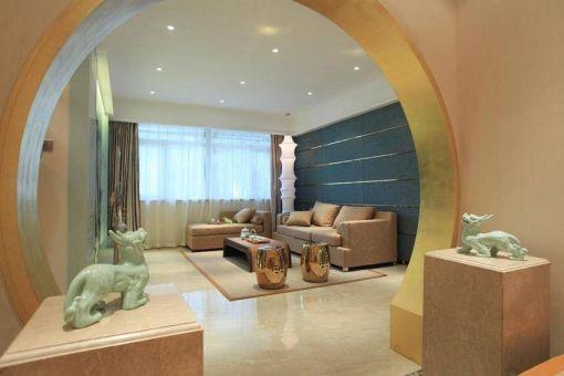 客厅黄色沙发中式风格装修图片