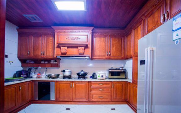 厨房橙色橱柜中式古典风格装修图片