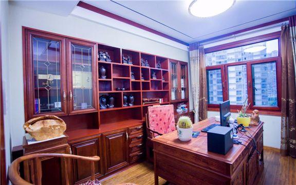 书房红色博古架中式古典风格装修设计图片