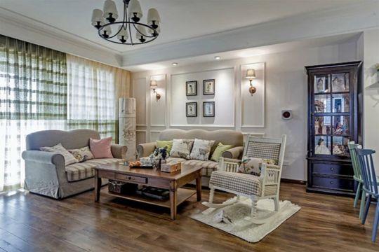 客厅咖啡色茶几美式风格装修效果图