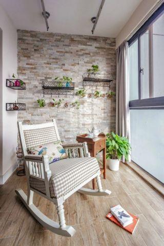 阳台咖啡色地板砖美式风格装潢效果图